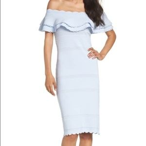 Eliza J light blue off shoulder ruffle dress